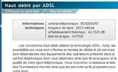 exampl de caractéristique de ligne ADSL