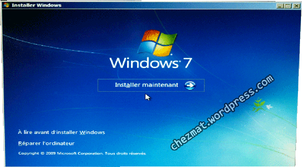 installation windows 7 SSD