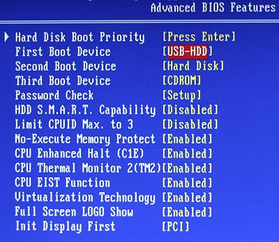 installer Windows à partir d'une clé USB